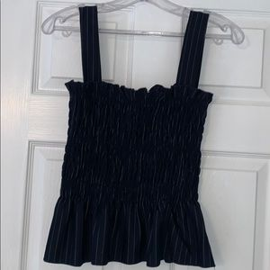 Navy and White Striped Smocked Tank Top